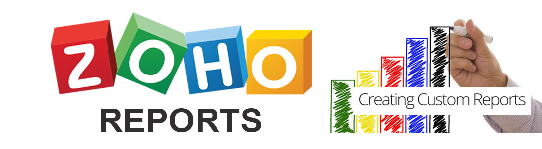 """Zoho Reports logo with a sketch of a graph with the words """"Creating Custom Reports"""""""